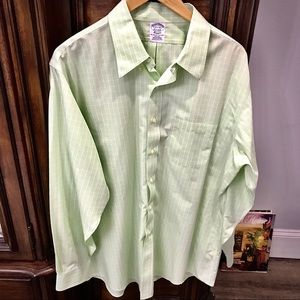 BROOK'S BROTHERS LIGHT GREEN/WHITE LS POLO SHIRT